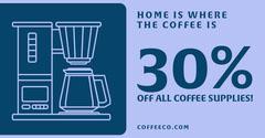 Blue Coffee Supplies Shop Sale Facebook Post Ad Coffee