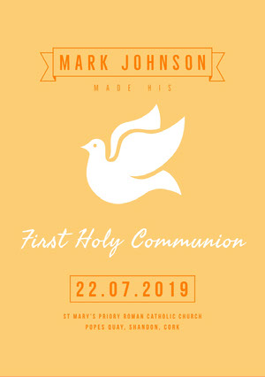 Yellow and White Communion Announcement Aankondiging