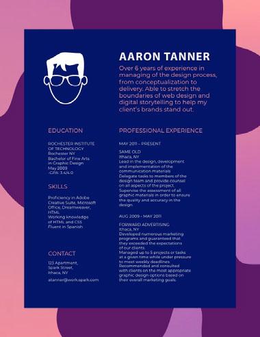 Blue and Violet Professional Resume Best Fonts for Your Résumé