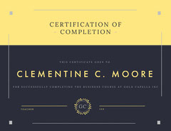 Yellow and Navy Certification of Completion Business