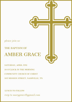 Gold Daughter Baptism Invitation Card with Cross Baptism