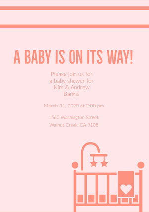 Red and Pink Baby Shower Invitation Pregnancy Announcement