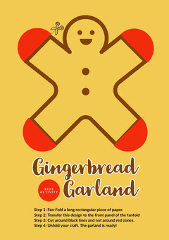 Yellow and Red Gingerbread Garland Christmas Paper Craft Graphic Crafts