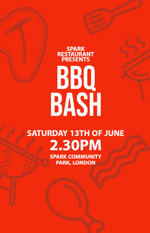 Red, White and Grey Barbeque Bash Event Poster BBQ Menu