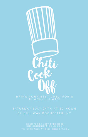 Blue Minimal Chili Cook-Off Flyer Chili Cook Off Flyer