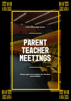 Black and Yellow Parent Teacher Meeting Poster Teacher