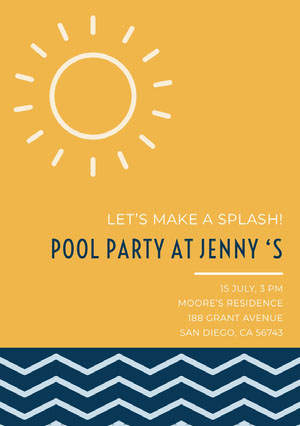 Orange and Blue Pool Party Invitation Card with Sun and Waves Pool Party Invitation