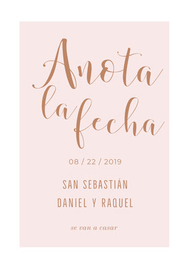 light pink save the date card  Tarjeta para guardar la fecha