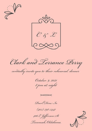 Black and Pink Rehearsal Dinner Invitation Rehearsal Invitation