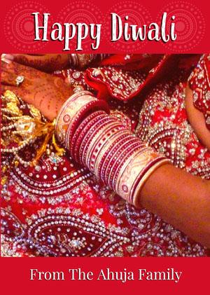 Red, White, Bright Toned Diwali Wishes Card Diwali