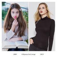 White Framed, Bright Ten Years Challenge Photos Instagram Post Meme