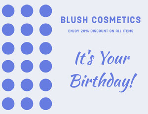 Blue Birthday Cosmetics Shop Discount Coupon Coupon