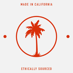 Red Palm Tree in Circle Made in California Square Label California