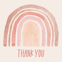 Pink Watercolor Rainbow Thank You Instagram Square Graphic  Thank You Poster