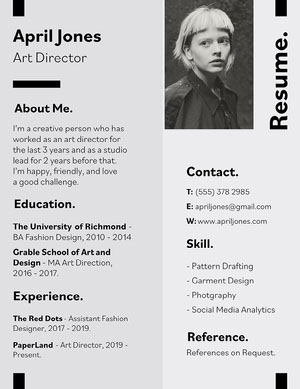 White and Black Art Director Resume Resume  Examples