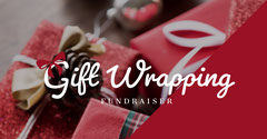 Red and White Gift Wrapping Fundraiser Ad Facebook Banner Fundraiser