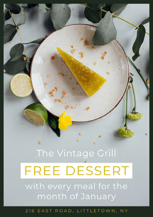 Grey and Yellow Free Dessert Flyer Ideas de volantes