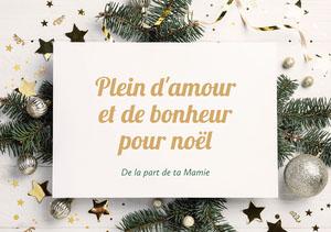 White Green Decorations Christmas From Grandma Card Carte de Noël