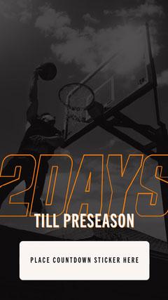 Black and White and Orange Basketball Sport Season Countdown Instagram Story Countdown