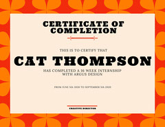 orange and red certificate of completion Orange