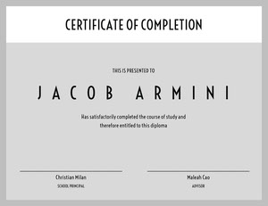 Grey Black and White Graduation Certificate Diplomi
