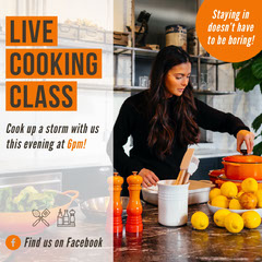 Orange and White Cooking Class Instagram Square Cooking