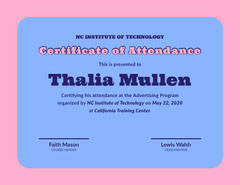 Certificate of attendance  College