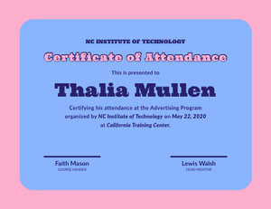 Blue and Pink Certificate of Attendance  Certificate of Attendance