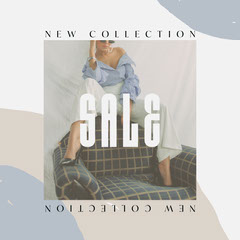 Blue and White, New Collection Sale Ad, Instagram Square New Collection