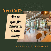 Green and White Open For Delivery Take Away Cafe Instagram Square  COVID-19 Re-opening