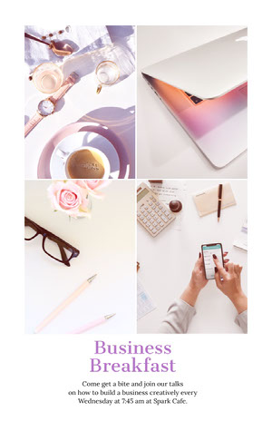 Pink and White Cafe Business Breakfast Flyer with Collage Bilder kombinieren