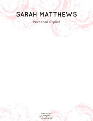Pale Pink Fashion Stylist Letterhead Carte intestate