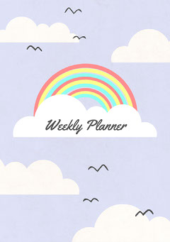 Purple Clouds And Rainbow Weekly Planner Book Cover Rainbow