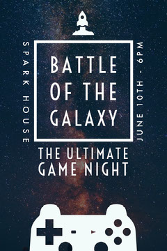 BATTLE OF THE GALAXY Game Night Flyer