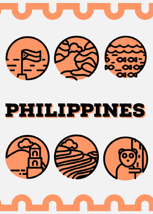 Orange Illustrated Philippines Postcard with Landmarks Postal