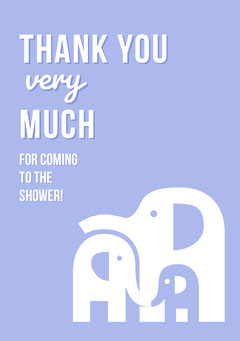 Blue Illustrated Thank You Baby Shower Card with Elephants Baby Shower
