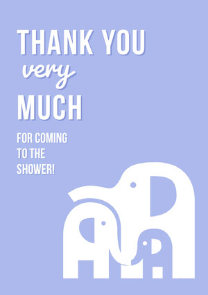 Blue Illustrated Thank You Baby Shower Card with Elephants Baby Shower Card