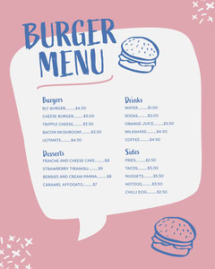 Blue and Pink Speech Balloon Burger Shop Instagram Portrait Menu Burger