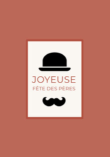 hat and mustache Father's Day cards Carte de Fête des pères