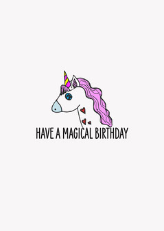 Purple Unicorn Birthday Card Kids