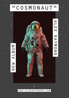 Gray Cosmonaut Photo New Album Launch Flyer Launch