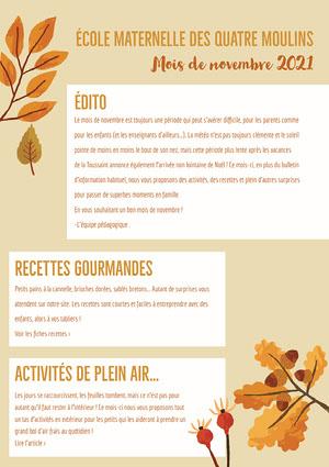 Brown Leaves November Nursery Newsletter A4  Newsletter
