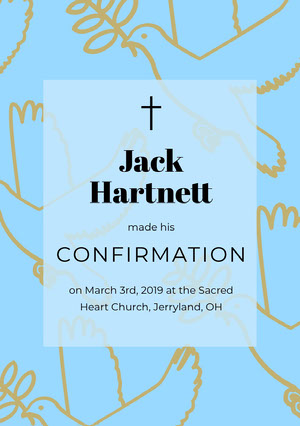Blue, Gold, Light Toned Confirmation Announcement Card Confirmation Annoucement