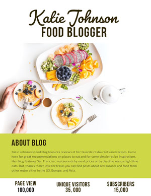 Food Blogger Media Kit with Salad Photo Kit per i media