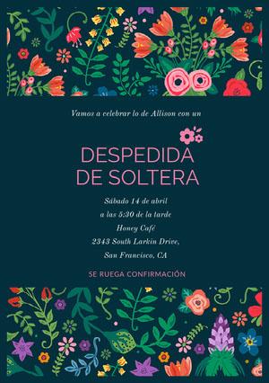 colorful flowers wedding invitations  invitación
