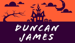 Purple and Orange Haunted House Halloween Party Place Card Tarjetas para mesas de invitados