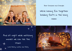 Blue Kids Fun Activity Letter To Grandparents Card Family