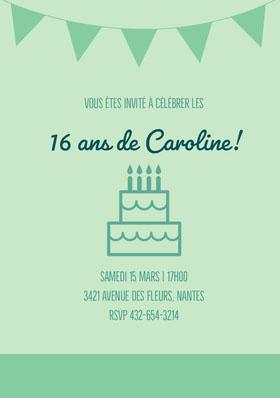16ans de Caroline! Invitation d'anniversaire