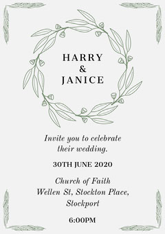 Green Elegant Wreath Wedding Invitation Card Rustic Wedding Invitation