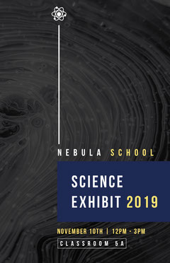 Black, White and Blue, Science Exhibit Event Ad, Poster Science